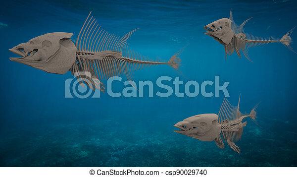 three fish skeletons swimming under the sea - csp90029740