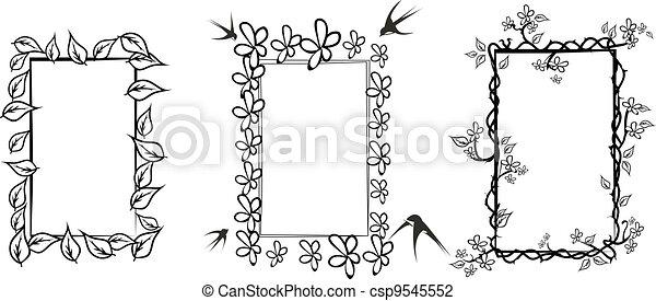 Cornici Disegno Bianco E Nero.Three Floral Frames In Black And Wh