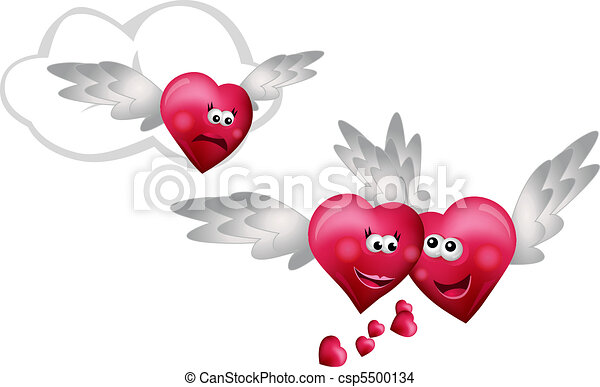 Clip Art Line Of Hearts : Three flying hearts isolated on white background eps vector