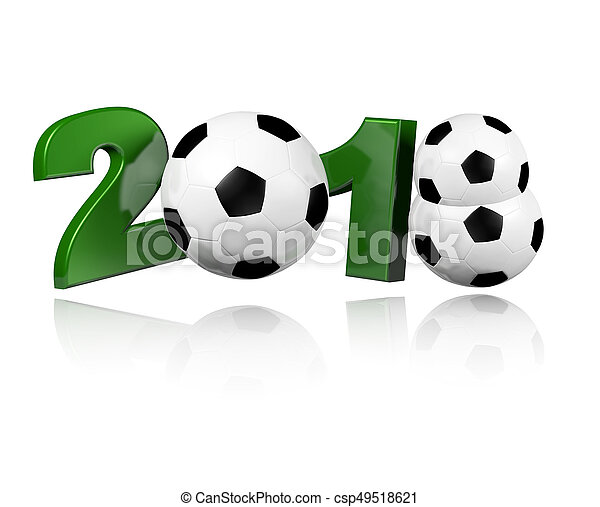 Three Football balls 2018 Design with a white Background - csp49518621