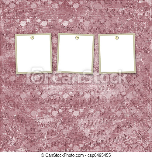 Three frames for photos on the abstract background - csp6495455