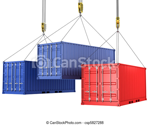Three freight containers are being hoisted - csp5827288