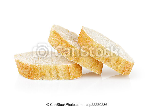 three fresh baked baguette slices - csp22280236