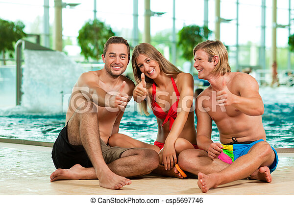 swimming pool with friends. Simple Swimming Three Friends In Public Swimming Pool  Csp5697746 With Swimming Pool Friends A