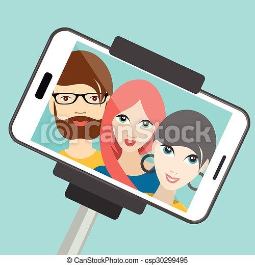 Three friends making summer selfie photo. cartoon illustration. - csp30299495