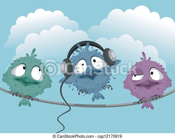 Three funny birds - csp12170919