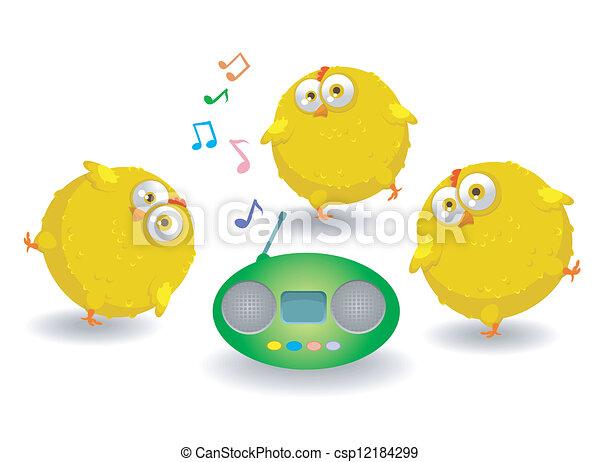 Three funny chicken dance - csp12184299
