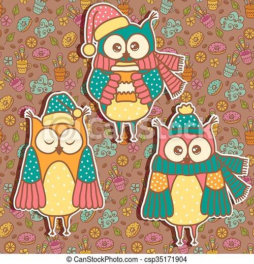 Three funny owl on a dark backgroun - csp35171904