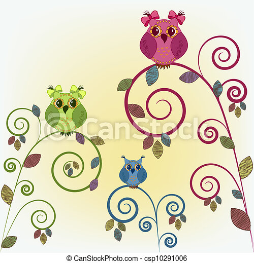 Three funny owl on the branches - csp10291006