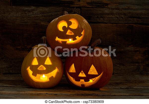 Three Funny Pumpkins For Halloween Cute Jack O Lantern Heads With