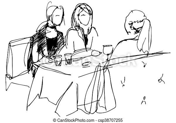 three girls at a table in a cafe pyut wine - csp38707255