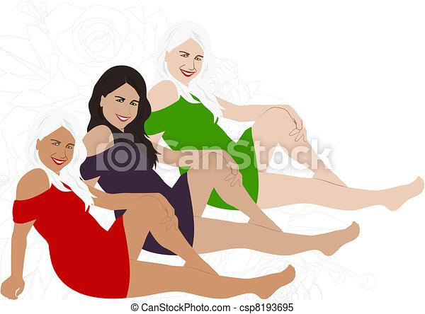 Three girls - csp8193695