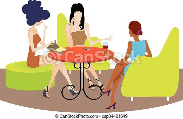 Three girls conversation - csp34421849