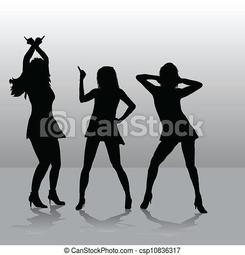 Three girls disco - csp10836317