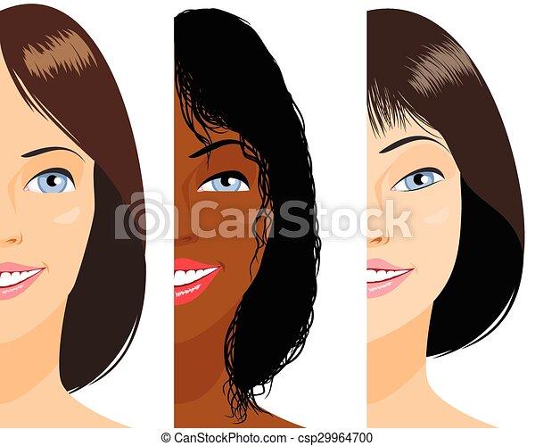Three girls faces - csp29964700
