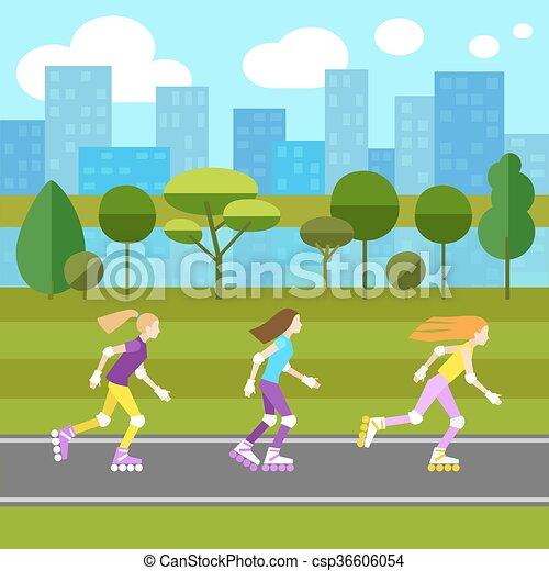 Three girls rollerblading - csp36606054