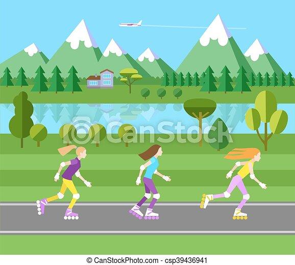 Three girls rollerblading. - csp39436941
