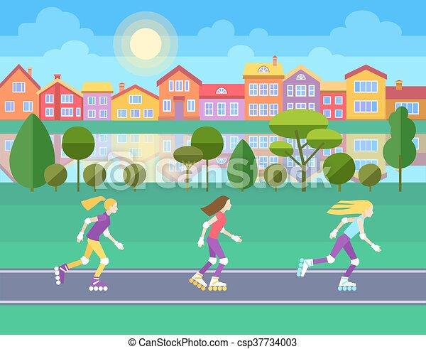 Three girls rollerblading - csp37734003