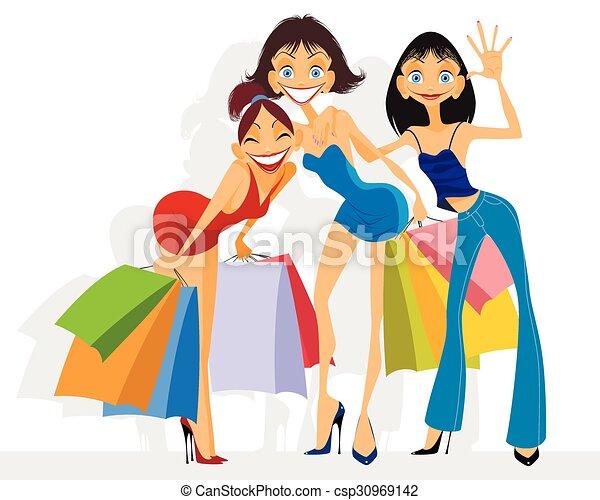Three girls shopping - csp30969142