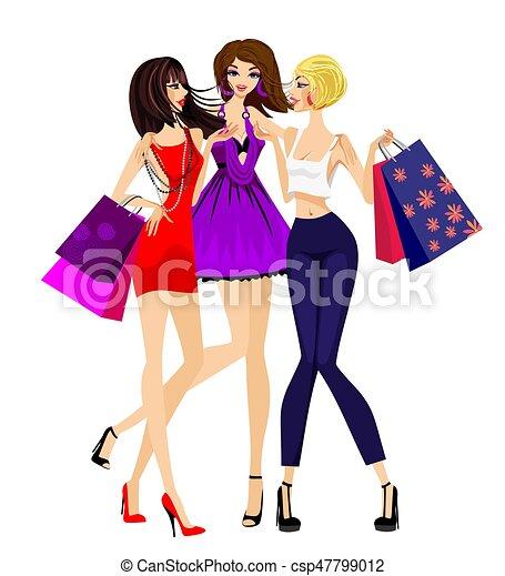 Three girls shopping - csp47799012