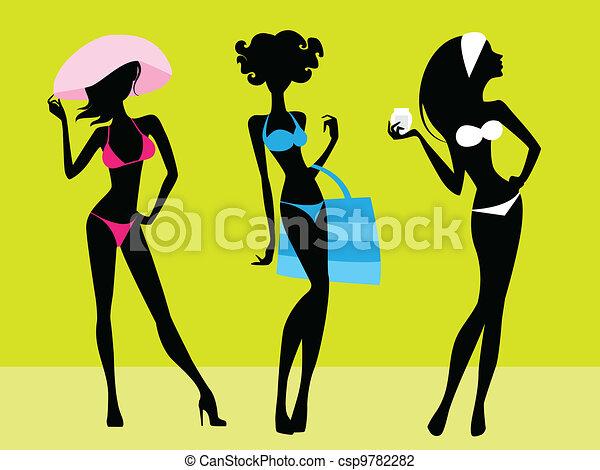 Three girls silhouettes - csp9782282