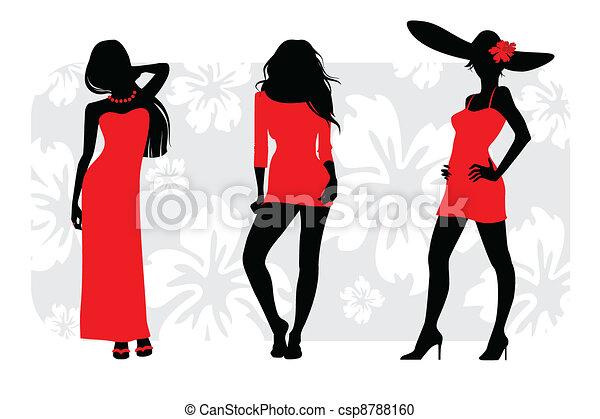 Three girls silhouettes - csp8788160