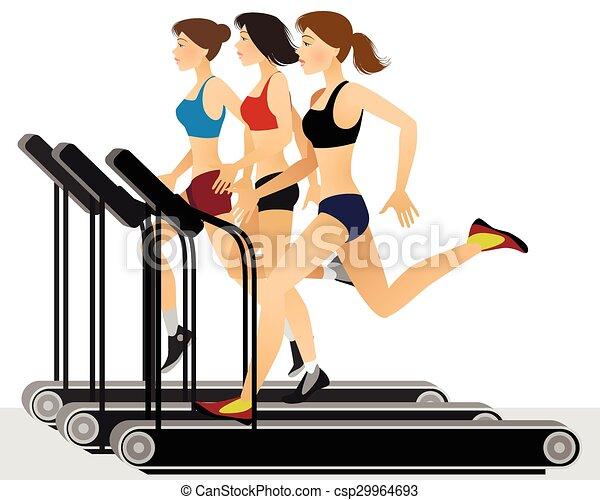 Three girls training - csp29964693