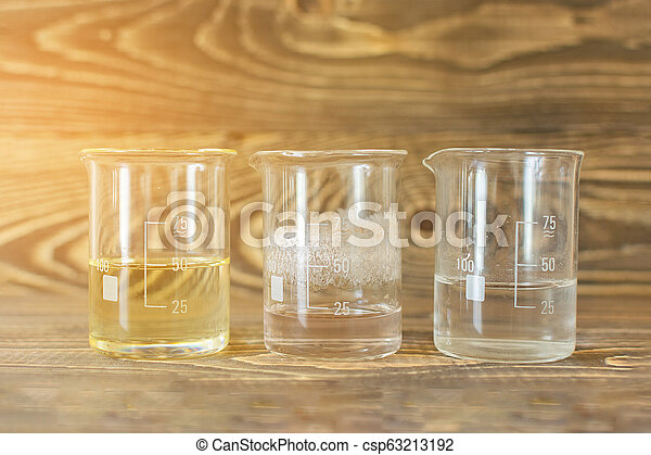 Three glass vessels of a tube with fluorescent sunshine - csp63213192