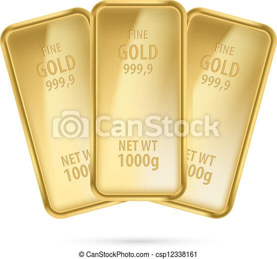 Three gold bars. - csp12338161