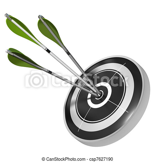 three green arrows hitting the center of the same black target, 3d render image over white background - csp7627190
