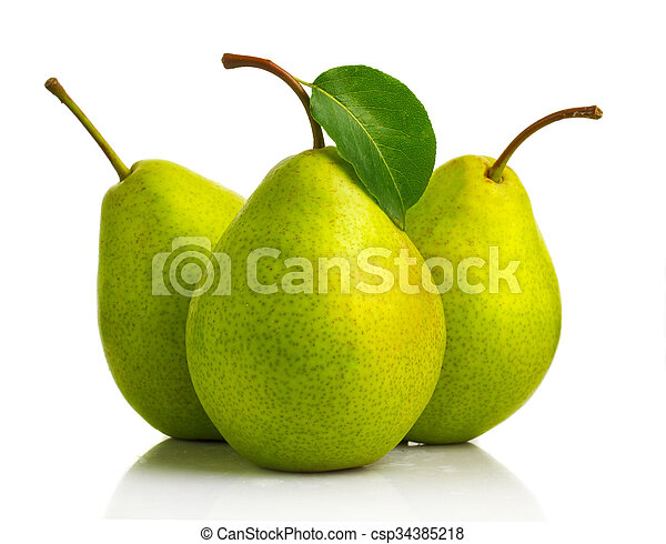 Three green pear fruits with leaves isolated - csp34385218