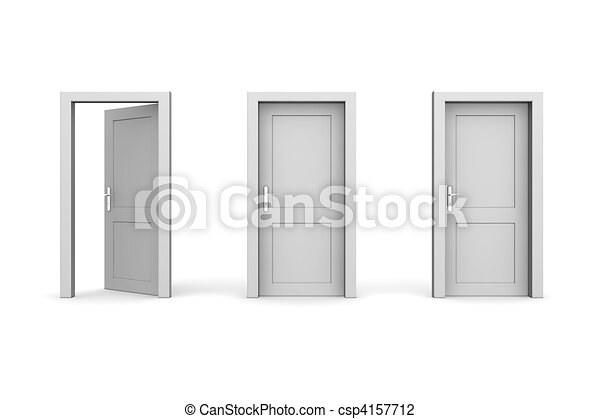 Three Grey Doors - Two Closed, The Left One Open - csp4157712