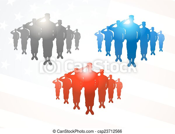 Three  groups of saluting soldiers in grey, blue and red colors on american flag background - csp23712566
