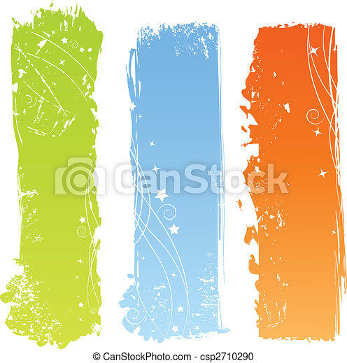 Three grungy multicolored banners - csp2710290