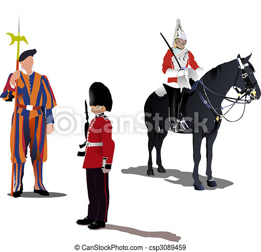Three guards on a horse isolated on white - csp3089459