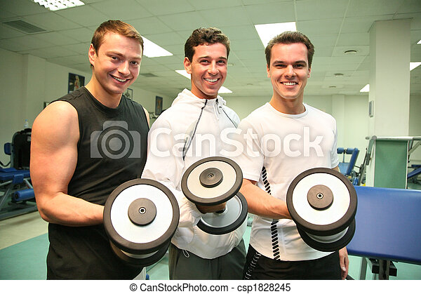 three gym men with dumbbells - csp1828245