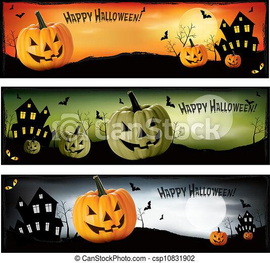 Three Halloween banners  Vector  - csp10831902
