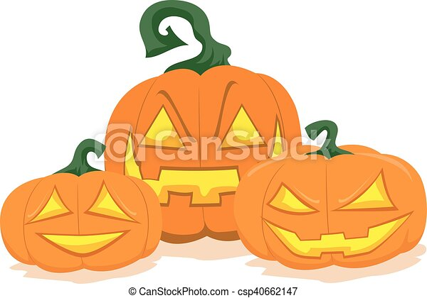 Three Halloween Pumpkin Display - csp40662147