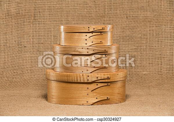 Three Hand Made Shaker Boxes - csp30324927