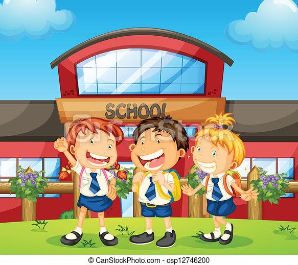 three happy students illustration of three happy students rh canstockphoto com Happy Building Happy Building