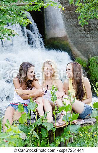 Teen girls at waterfall