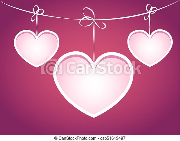 Clip Art Line Of Hearts : Three hearts hanging on a string objects grouped and named eps