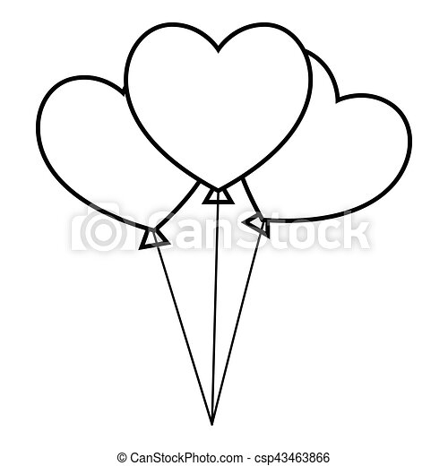 Three Hearts Icon Outline Style Three Hearts Icon Outline