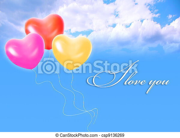 Three Inflatable Heart Shape Balloons In Cloud Sky And LOVE Word Collage    Csp9136269