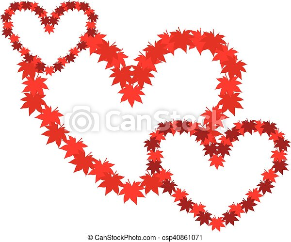 Three Intertwined Hearts Symbol Of Love Heart From Autumn Leaves
