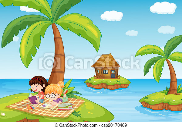 illustration of the three islands in the ocean clip art vector rh canstockphoto com Beach Clip Art Beach Clip Art