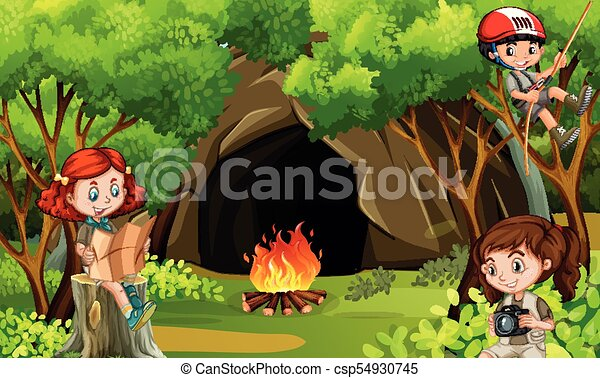 Three Kids Camping In The Woods