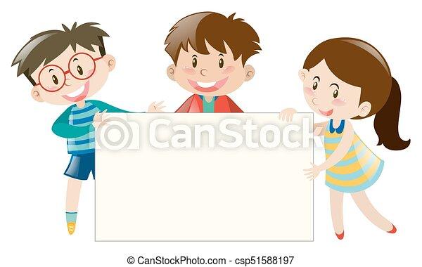 Three kids holding blank banner - csp51588197