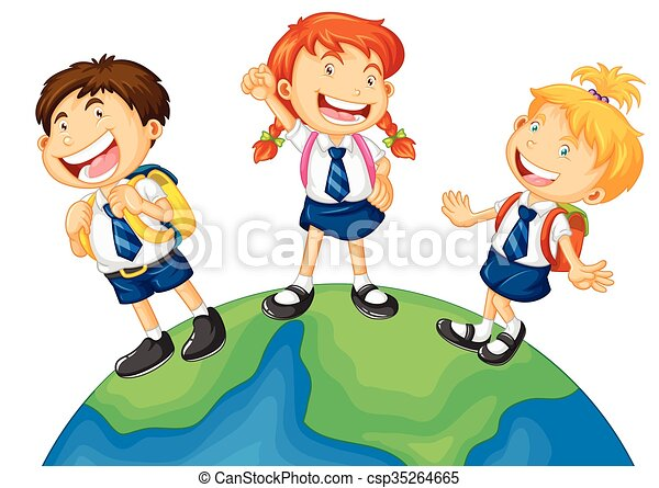 three kids in school uniform standing on earth illustration clip art rh canstockphoto com school uniform clipart black and white red school uniform clipart
