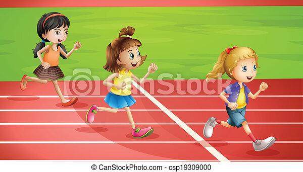 Three kids jogging - csp19309000
